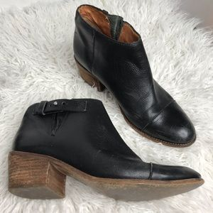 Madewell Black Leather Ankle Heel Boots Booties